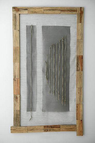 Meet again  canvas,linen thread, metal fabric, wood 95 cm x 174 cm, 2013