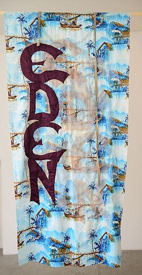 Eden  fabric, threat,linen 220 cm x 110 cm, 2014